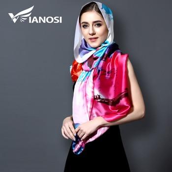 [Vianosi] 2017 Moda bandana Impressão de Seda do Lenço Das Mulheres Longas Xailes Hijab Lenços de Marca de Luxo Mulheres Lenço Com Festa VA105