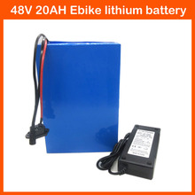 48V 1000W Electric scooter battery Electric Bike battery 48V 20AH Lithium battery pack with PVC Case 30A BMS 54.6V 2A charger