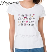 Ingoroo Set Of Stickers With Cute Pandas And Bubbles Summer Casual Funny T Shirt Horse Unicorn Shirt Horse Women's Punk T-shirt