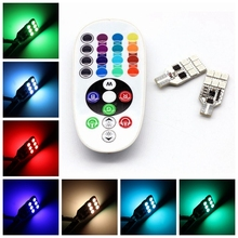 Car Interior RGB LED Car T10 12SMD 5050 Dome Led Atmosphere Light 16 Colors Bright Lamp Bulb Auto Interior Lamps Remote Control(China)