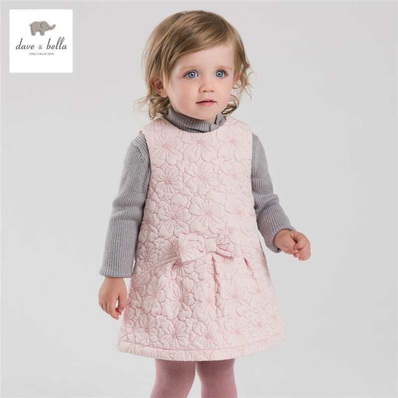 DB3982 dave bella autumn fall baby girl sweet pink dress vest dress<br>