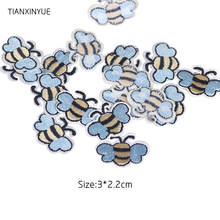 TIANXINYUE 10 pcs Blue Bee Patches Iron On DIY Embroidered Appliques Sewing On Stickers For Clothing fabric(China)