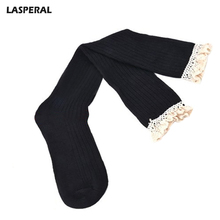 LASPERAL Brand 1Pair knee High Women Girls Lace Stocking Spring Winter Warm Medias Pantyhose Stockings 5 Colors 2017 New