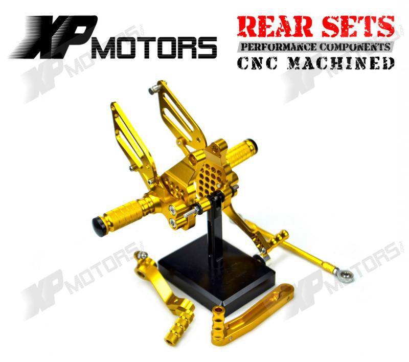 New CNC Gold Billet Racing Adjustable Rearset Foot Pegs Rear Sets For Ducati 749 749R/S 999 999R/S 2003 2004 2005 2006<br><br>Aliexpress