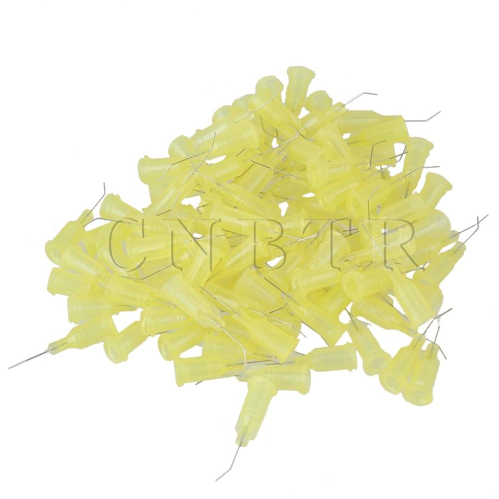 CNBTR 100 x Yellow 1/2 32Ga Steel Bend Dispenser Blunt Needle with Plastic Spiral Connector<br><br>Aliexpress
