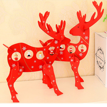 1 pc XMAS Gift mini Desk Dinner table Decoration wood Christmas deer with ornament DIY X'mas Christmas Decoration For Home(China)
