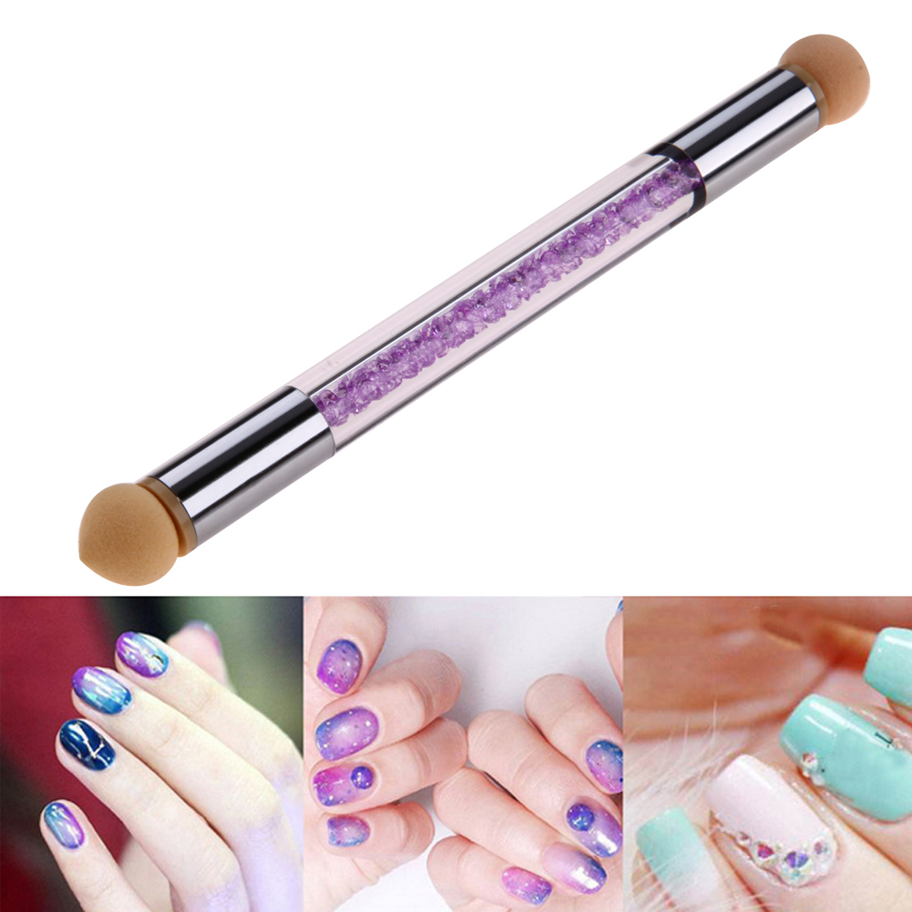 Double Head Sponge Nail Art Dotting Pen Salon DIY Manicure Nail Tips Design Gradient Painting Drawing Pen with Acrylic Handle