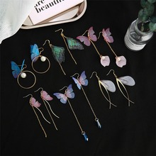 Gold Color Minimalism Butterfly Wings Long Earrings For Women Earring Fashion Jewelry Gifts