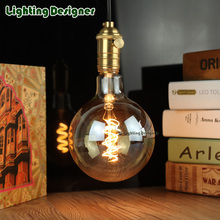 G125edison led bulb E27 spiral light amber retro saving lamp vintage filament bulb Edison ampul lamp led light chandelier 220V4W