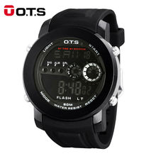 OTS Luxury Brand Men Fashion Sports Watches Outdoor 50M Waterproof Rubber Strap LED Digital Watch Relogio Masculino wristwatches(China)