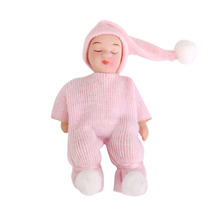 Dollhouse Miniature Porcelain Dolls Cute Sleeping Baby in Pink Sweater Classic Pretend Play Baby Dolls Toys Creative Gifts