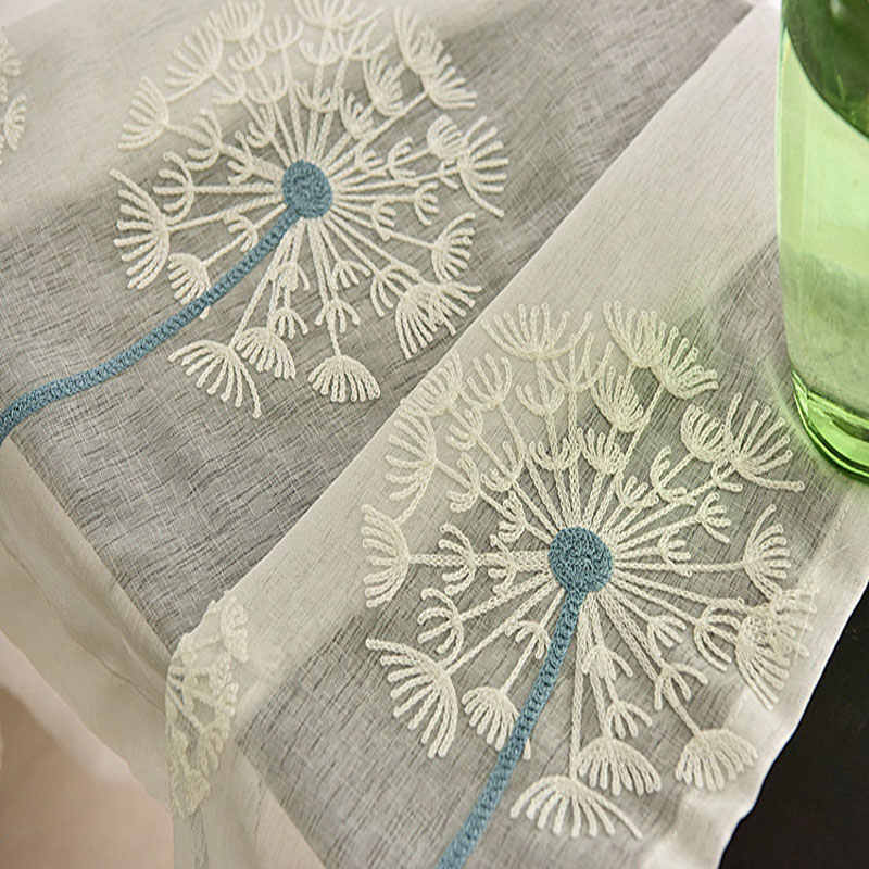 Dandelion high-grade pure white embroidery screens on manufactured goods contracted sitting room the bedroom curtain gauze shade