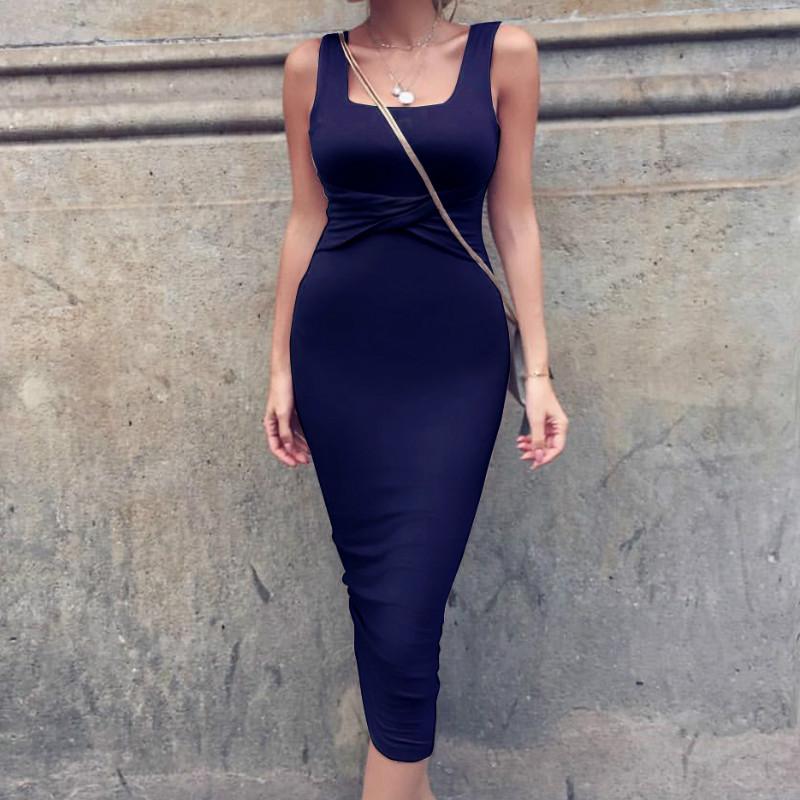 Women Summer Bodycon Dress 2018 Scoop Collar Sleeveless O-neck Sexy Midi Dresses Sheath Clubwear Femme Party Slim Dress GV575 23
