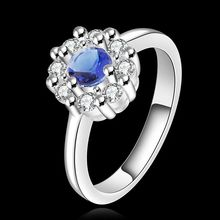 Wholesale 925 jewelry silver plated ring, 925 jewelry silver plated fashion jewelry, big blue stone smile Ring  SMTR519