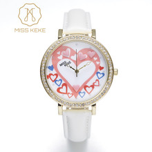 Lovers Watch MISS KEKE 3D Clay Hearts Ladies Watch Rhinestone Golden Case White Strap Clock Women Lovely Wrist Watches For Women(China)