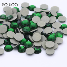 1440pcs/lot Eco-friendly lead free Lower 90PPM Hot Fix Rhinestone Round Green Color Iron on Rhinestone baby studs(China)
