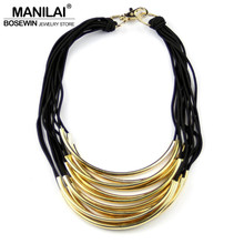 MANILAI Choker Fashion Accessories Many Rubber Band Pass Through Bright Metal Pipe Statement Necklaces For Women Dress CE1672(China)