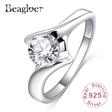 Beagloer Finger Rings 100% 925 Sterling Silver Ring Round Shape AAA Cubic Zircon Forever Wedding Ring Bijoux SRI0052-B