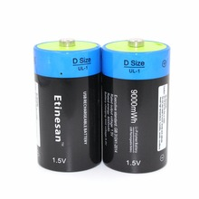 2pcs/lot Etinesan 1.5v  li-polymer 9000mWh D size rechargeable D battery big capacity D type USB battery
