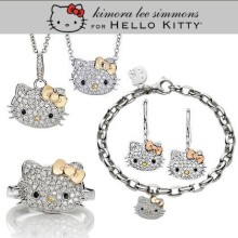 Free Shipping,hello kitty jewelry cheap,hello kitty jewelry set,hello kitty in gold bow with free jewelry gift-1set/lot HT-1091