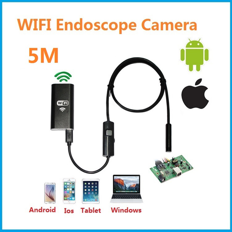 Endoscope camera WIFI Android IOS 720p 6 LED 8mm 5M Waterproof Inspection Borescope Tube Camera  Industrial endosco no USB<br>