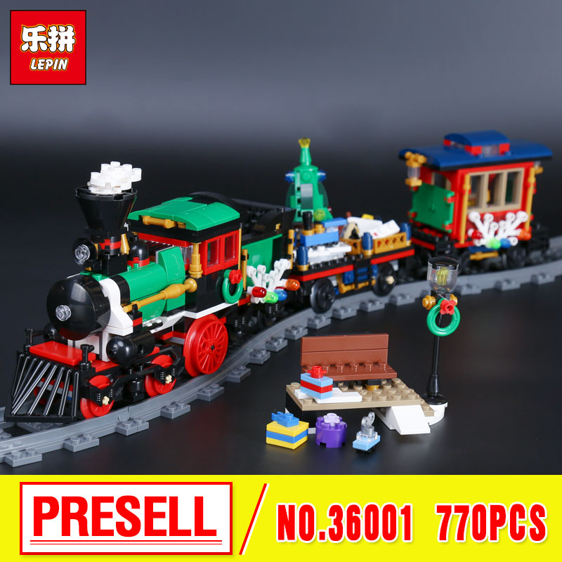 Lepin 36001 770Pcs Creative The Christmas gift Winter Holiday Train Set Children Educational Building Blocks Bricks Toys 10254<br>