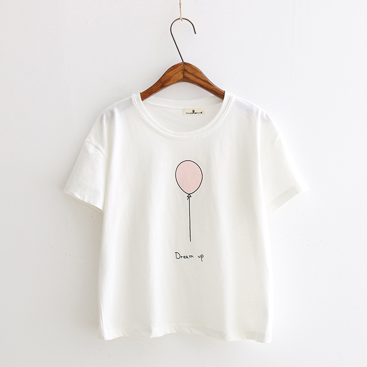 white pink color print camisetas 19 women summer kawaii short sleeve t-shirts dream up harajuku casual cotton tops tee shirt 2