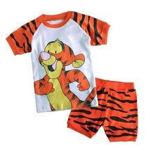2017 New 100% Cotton Baby Boys Girls Clothing Set Children Shirt + Pants Set Kids Jumping Tiger Cartoon Clothes Casual Suits(China)