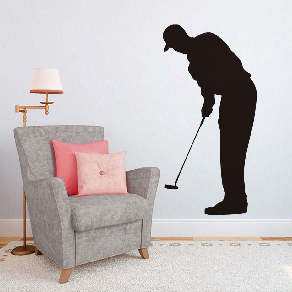 hot sale living room sport silhouette wall mural home decor golf