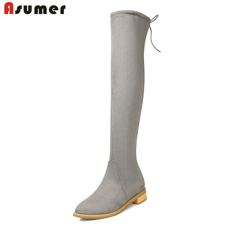 ASUMER 2017 winter new fashion women plus size 34-43 shoes point toe low heels platform simple  elegant knee high boots<br>