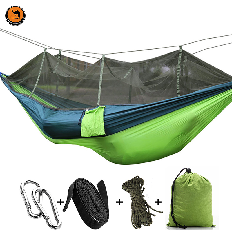 High Strength Double Person Folding Hammock with Mosquito Net Portable Camping Furniture Outdoor Travel Kits Stit Mixed Colors<br>