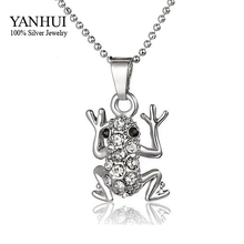 YANHUI Creative Style Jewelry Gold Filled Crystal Frog Pendant Necklace Fashion Women's Unique Special Party Gifts BKN057(China)