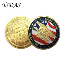 Wholesale Sea Land Air 24k Gold Plated Coin 40g/pc USA Challenge Coin 1pc Best Souvenir Coin Gift Free Shipping(China)