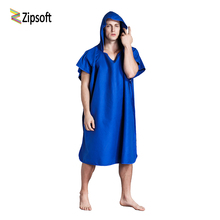 Zipsoft beach Towel microfiber bathrobe Poncho Hooded washrag mulitcolor Absorbent drying Easy for Changing Cloth New year gift(China)