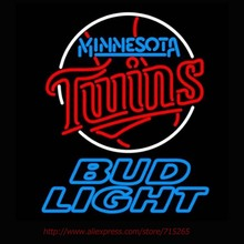 Bud Light Minnesota Twins Neon Signs Handcrafted Neon Bulbs Real Glass Tube Decorate Room Garage Custom Neon Lights Impact 31x24(China)