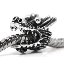 DoreenBeads 20Pcs dull silver color Dragon Beads Fit Charm Bracelets 13x11mm (B14728)