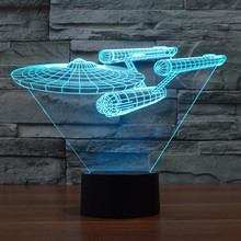 Foreign trade on the new star trek warships 3 d light colorful visual touch LED light gifts atmosphere desk lamp, 3168