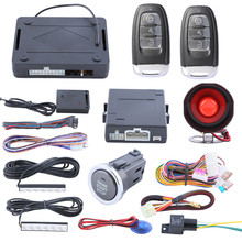 Rolling code passive keyless entry kit PKE car alarm system with push button start/stop and auto arm, power window output(China)