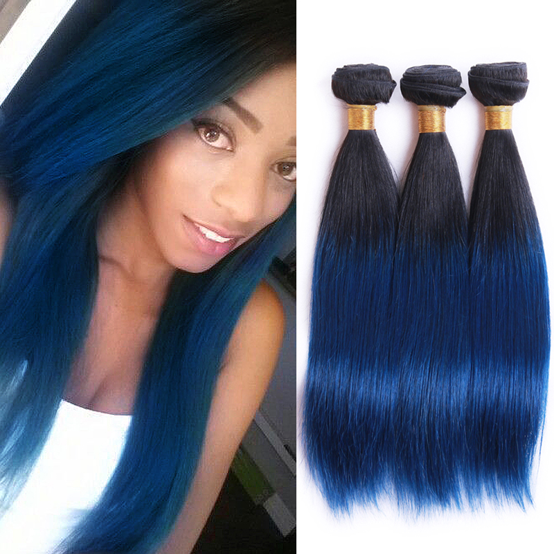 Straight Peruvian blue human hair 3 bundles remy hair blue ombre weave 2 tone ombre blue weave Bob Weaving Style Extension<br><br>Aliexpress