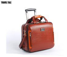 TRAVEL TALE 16 Inch men business boarding luggage,carry on suitcase check in travel bag genuine cow leather