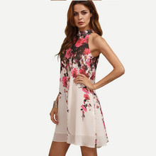 2017 Summer  New Arrival Bohemian Style Dresses Casual  Women  Round Neck  Floral Cut Out Sleeveless  Shift A-Line Dress