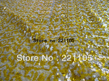 "1Meter/Lot Two-Tone  Golden+ Silver 3MM Gauze Mesh Sequin Paillette Embroidery Fabric Textile For Dress Cloth  50"" Meter Price"