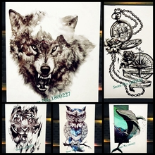 New Waterproof Temporary Tattoo Forest Wolf King Beast Fake Flash Tattoo For Men, Women Spray Body Art Black Tatoo Arm Wolves