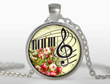 2017 new hot Music Pendant necklace Silver plated Music Key Jewelry Flowers & Music keys for lovers Women Necklaces
