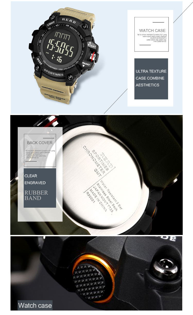 luxury brand READ LED digital wristwatches for men waterproof shock resist military watch free shipping 2018 (10)