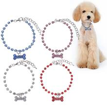 Pet Dog Crystal Jewelry Diamond Bone Shape Rhinestone Pendant Necklace Collar Decoration Crystal Beads Pet Accessories L20(China)