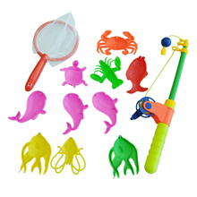 Magnetic Fishing Toy Rod Model Net 10 Fish Kid Children Baby Bath Time Fun Game