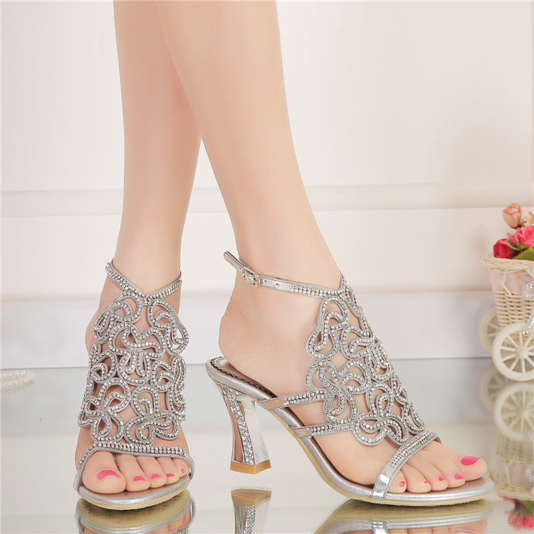 New Casual Wedding Silver Open Toe High Heel Shoes Diamond Female Womens Summer Sandals Size 11 Good Quality3