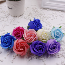1Pcs 5cm Colorful artificial Rose Soap Flower Romantic Wedding Party Gift Handmake Flower Petals real touch flowers(China)