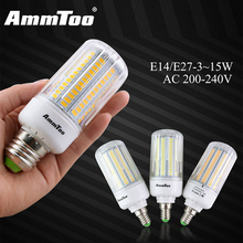 Ultra Bright 3W 5W 7W 9W 12W 15W Led Lamp AC 220V E27 E14 5736 SMD Energy Efficient LED Corn Bulb Home Christmas Decoration